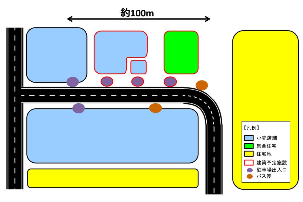 図表 大規模集客施設の駐車場出入口の集積状況